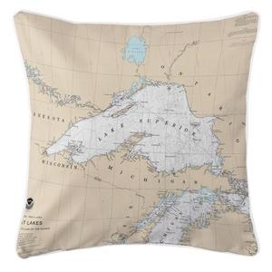 Great Lakes: Lake Superior Nautical Chart Pillow