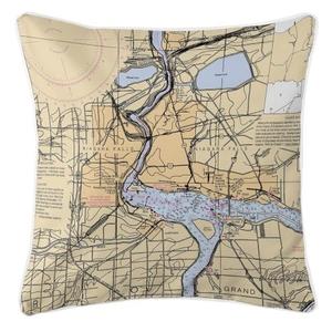 Niagra Falls, New York Nautical Chart Pillow