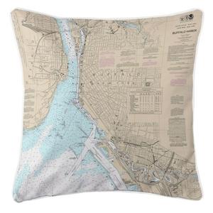 Buffalo Harbor, New York Nautical Chart Pillow