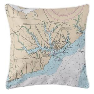 Oriental, North Carolina Nautical Chart Pillow