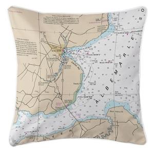 Edenton, North Carolina Nautical Chart Pillow