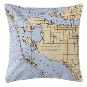 Bradenton, Florida Nautical Chart Pillow