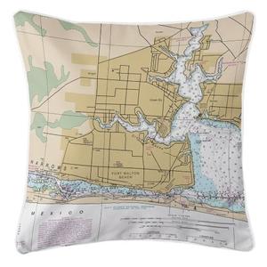 Fort Walton Beach, Florida Nautical Chart Pillow