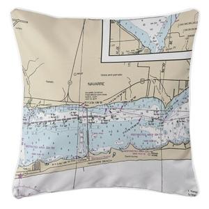 Navarre, Florida Nautical Chart Pillow