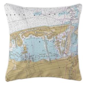Miami Beach, Florida Nautical Chart Pillow