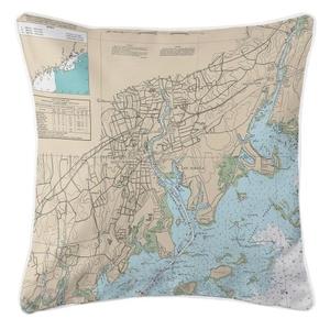 Norwalk, Connecticut Nautical Chart Pillow