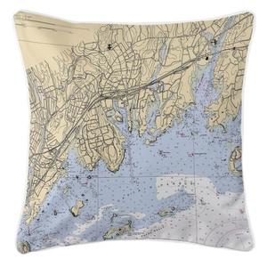 Greenwich, Connecticut Nautical Chart Pillow