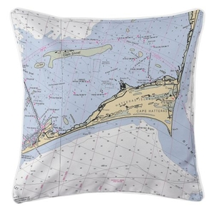 Cape Hatteras, North Carolina Nautical Chart Pillow