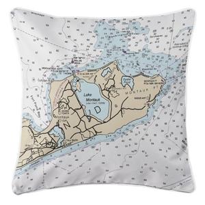 Montauk, New York Nautical Chart Pillow
