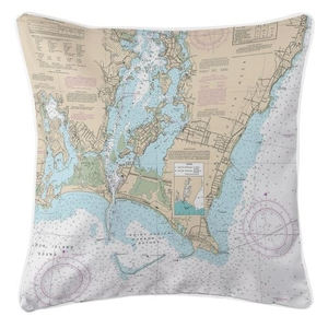 Point Judith Harbor, Road Island Nautical Chart Pillow