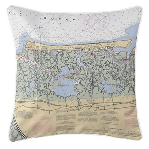 Stone Harbor, New Jersey Nautical Chart Pillow