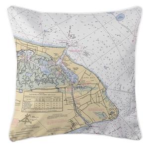 Cape May, New Jersey Nautical Chart Pillow