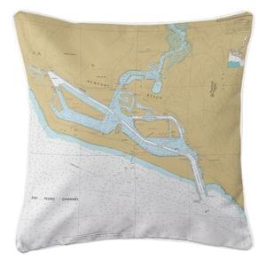 Newport Bay, California Nautical Chart Pillow