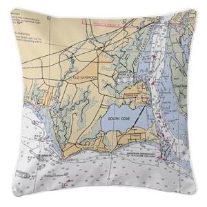 Old Saybrook, Connecticut Nautical Chart Pillow