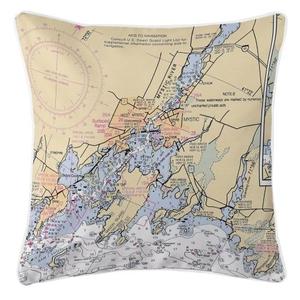 Mystic, Connecticut Nautical Chart Pillow