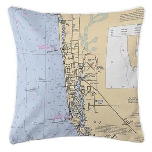 Naples, Florida Nautical Chart Pillow