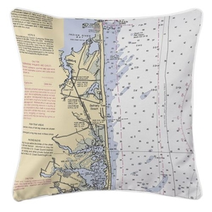 Bethany Beach, Delaware Nautical Chart Pillow