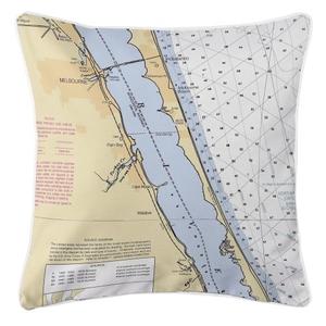 Melbourne, Florida Nautical Chart Pillow