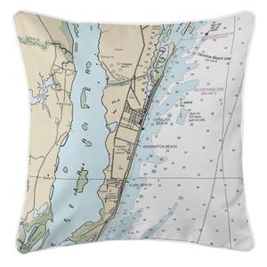 Carolina Beach, Wilmington Beach, Kure Beach, North Carolina Nautical Chart Pillow