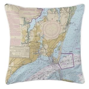Hampton, Virginia Nautical Chart Pillow