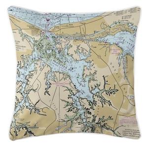 Lynnhaven Bay, Virginia Nautical Chart Pillow