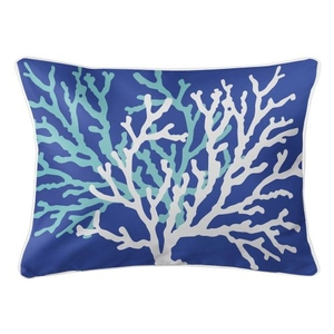 Coral Duo On Cobalt Lumbar Pillow