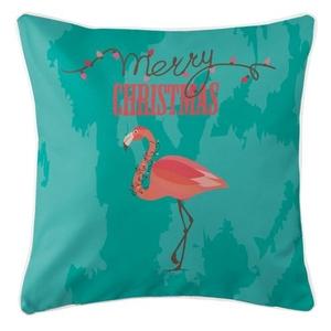 Flamingo Christmas Pillow