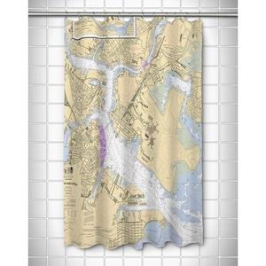 Ma: Boston, Ma Nautical Chart Shower Curtain