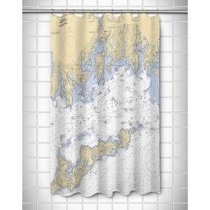 Ct: Fishers Island Sound, Ct Nautical Chart Shower Curtain