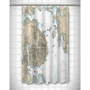 ME: Frenchman Bay, Mount Desert Island, ME Nautical Chart Shower Curtain