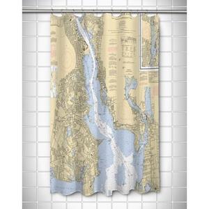 Ri: Providence River, Ri Nautical Chart Shower Curtain