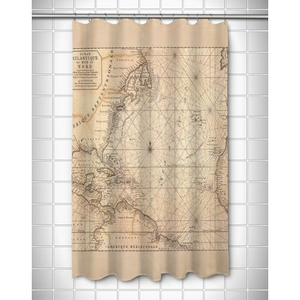 Old World Nautical Chart Shower Curtain