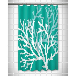 Coral Duo on Aqua Shower Curtain
