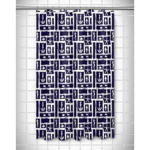 Ocean Squares Navy Shower Curtain