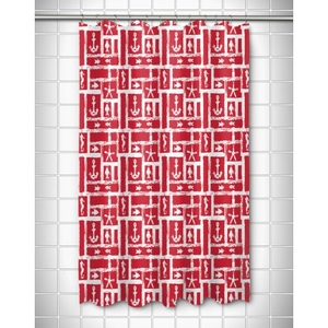 Ocean Squares Red Shower Curtain
