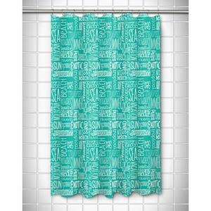Beach Vacation Words Aqua Shower Curtain