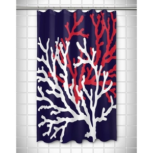 Coral Duo on Navy Shower Curtain