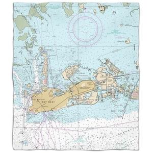 Fl: Key West, Fl Nautical Chart Fleece Throw Blanket