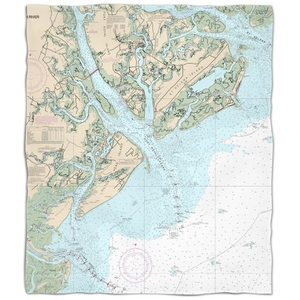 Sc: Hilton Head Island, Sc Nautical Chart Fleece Throw Blanket