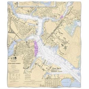Ma: Boston, Ma Nautical Chart Fleece Throw Blanket