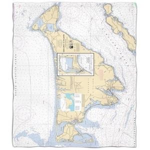 Ma: Martha'S Vineyard, Ma Nautical Chart Fleece Throw Blanket