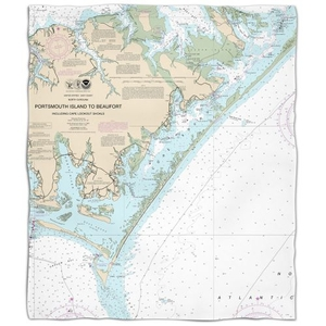 Nc: Portsmouth Island To Beaufort, Nc Nautical Chart Fleece Throw Blanket