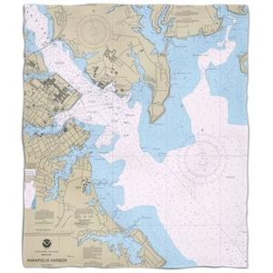 Md: Annapolis Harbor, Md Nautical Chart Fleece Throw Blanket