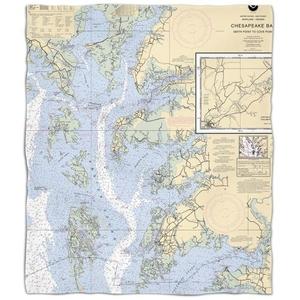 Md-Va: Chesapeake Bay, Md-Va Nautical Chart Fleece Throw Blanket