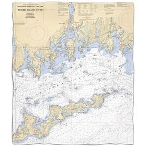 Ct: Fishers Island Sound, Ct Nautical Chart Fleece Throw Blanket