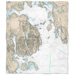 Me: Frenchman Bay, Mount Desert Island, Me Nautical Chart Fleece Throw Blanket