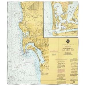 Ca: San Diego, Ca Nautical Chart Fleece Throw Blanket