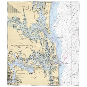 Fl: Amelia Island, Fl Nautical Chart Fleece Throw Blanket