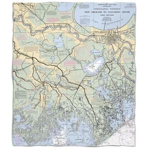 La: New Orleans, La Nautical Chart Fleece Throw Blanket