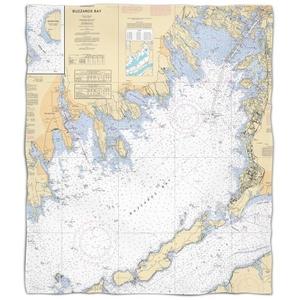 Ma: Buzzards Bay, Ma Nautical Chart Fleece Throw Blanket